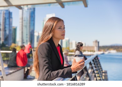 Anxiety and stress coping from returning to work or office after coronavirus pandemic. Asian business woman pensive looking sad in city outdoors. Mental health - Shutterstock ID 1816816289