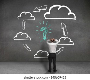 Anxious businessman looking at a drawn process with clouds and a questions mark in the middle
