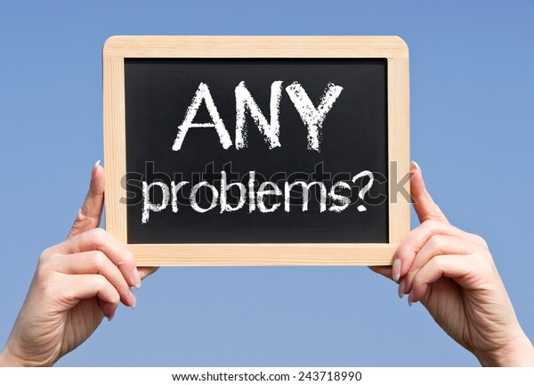 Any Problems Female Hand Chalkboard Stock Photo (Edit Now