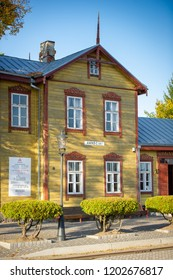 ANYKSCIAI, LITHUANIA - OCTOBER 3, 2014: Anyksciai Railway Station. The Narrow-Gauge Railway Museum, established in the century-old complex of Anykščiai Railway Station.
