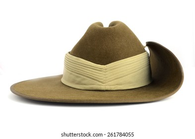 ANZAC army soldier slouch hat on white background.