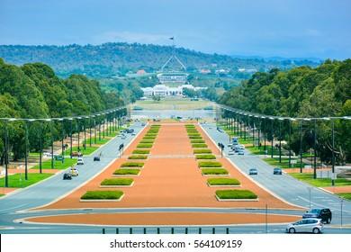 Anzac Boulevard as seen from Australian War Memorial, looking toward the Australian Parliament Building in the far distance - Canberra, Australia