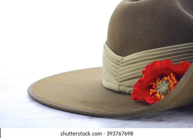 ANZAC Day, April 25, army slouch hat on white marble table with copy space.