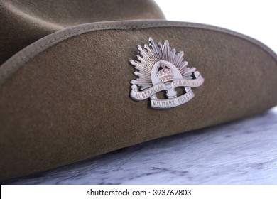 ANZAC Day, April 25, army slouch hat on white marble table, closeup.