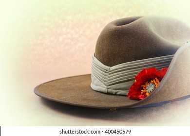 ANZAC Day, April 25, Australian army slouch hat with applied faded retro vintage style filters, with copy space.