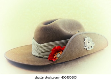 ANZAC Day, April 25, Australian army slouch hat with applied faded retro vintage style filters.
