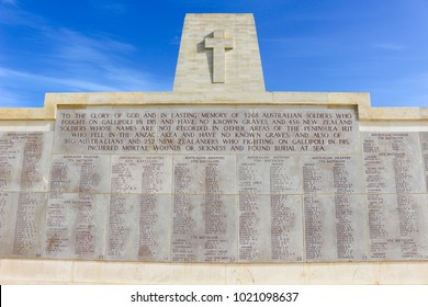 Anzac Turkey - July 22, 2016: Memorial for all the soldiers that died at  Anzac Cove, Turkey the scene of one ofthe bloodiest campaigns of World War 1 in the Gallipoli Peninsula on the Aegean Sea