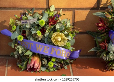 ANZAC wreath including wattle leaves and protea flowers, Leeton, NSW, Australia