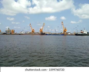 ANZALI, GILAN, IRAN 05 05 2019: Trade ship in port Anzali port in Caspian sea,Iran.