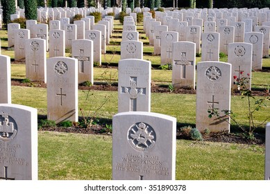 ANZIO, ITALY - DECEMBER 30 2010: Tombs of the British Military Cemetery.