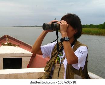 Anzoategui/Venezuela -06 September, 2018: Scientist tracking shore migratory and resident birds with the aid of binoculars, Laguna de Unare, Anzoategui, Venezuela