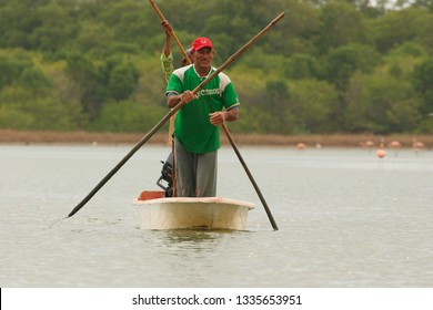 Anzoategui/Venezuela-May 08, 2018:  fishermen in Unare lagoon, Anzoategui, Venezuela, South America. Fishing help millions of people around the world by supporting development alleviating poverty