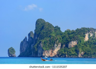Ao Loh Dalum bay on Phi Phi Don Island, Krabi Province, Thailand. Koh Phi Phi Don is part of a marine national park.