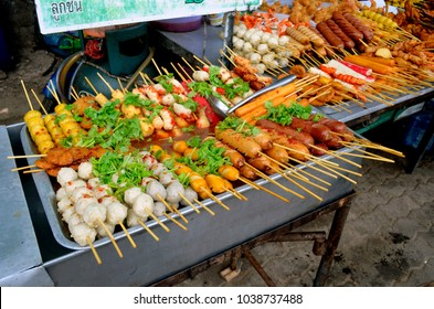 Ao Nang, Krabi province, Thailand - April 23, 2017. Street food stalls on Nopparat Thara Road.