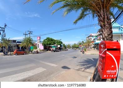 Ao Nang, Krabi province, Thailand - April 29, 2015: Nopparat Thara Road in direction of the beach.