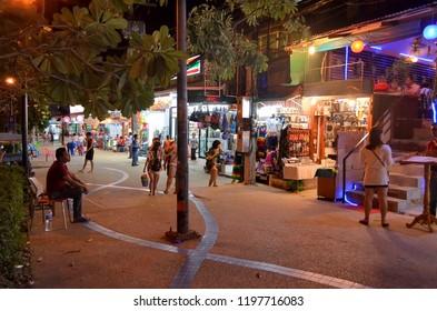 Ao Nang, Krabi province, Thailand - April 26, 2015: Nopparat Thara Road by night.