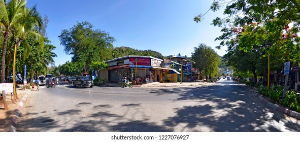 Ao Nang, Krabi province, Thailand - April 29, 2015: Intersection of Nopparat Thara Road (also known as Moo 2) and Soi Ao Nang 17 in a curve.