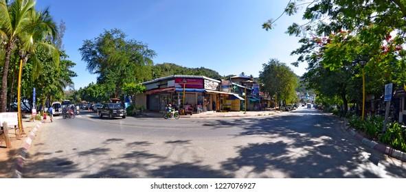 Ao Nang, Krabi province, Thailand - April 29, 2015: Intersection of Nopparat Thara Road and Soi Ao Nang 17 in a curve.