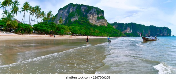 Ao Nang, Krabi province, Thailand - October 18, 2013: Panoramic view of the beach.