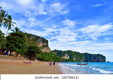 Ao Nang, Krabi province, Thailand - October 23, 2013: General view of the beach in the afternoon.