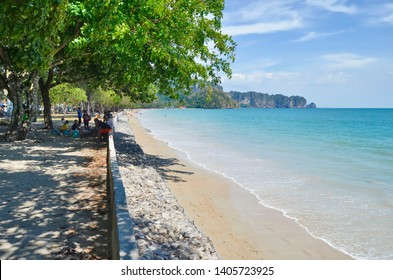 Ao Nang, Thailand - April 10, 2019: Nopparat Thara Beach. This part of the beach is mainly frequented by locals.