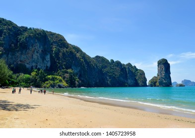Ao Nang, Thailand - April 11, 2019:  The private secluded Pai Plong Beach, entirely occupied by a luxury resort.