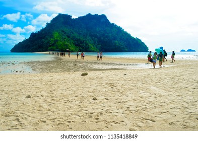 Ao Nang, Thailand - October 24, 2014: Thale Waek (Separated Sea) between Chicken island in the foreground and Poda island and Tup island in the background.
