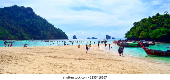 Ao Nang, Thailand - October 24, 2014: Thale Waek (Separated Sea) between Koh Kai in the background and Koh Tup in the foreground.