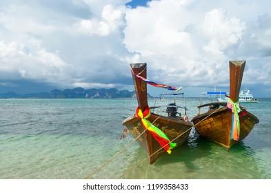 Ao Nang, Thailand - October 24, 2014: The Ao Nang bay seen from Koh Tup, with Ao Nang beach, Tonsai beach, Railey beach and Phra Nang beach in the background.