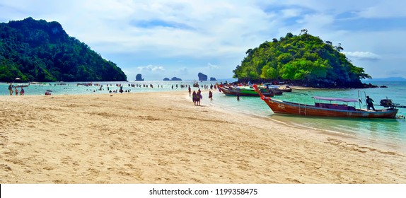 Ao Nang, Thailand - October 24, 2014: Thale Waek (meaning Separated Sea), strip of sand between Koh Kai and Koh Mor in the background and Koh Tup in the foreground.
