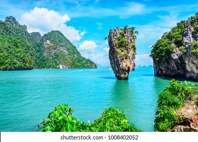 Ao Phang Nga National Park. Located near Phuket in Thailand. Famous landmark and famous travel destination.