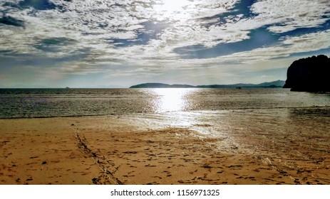 Ao Phra Nang Beach late afternoon sun in Krabi Southern Thailand