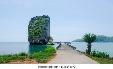 Ao Talo Wow split rock formation, Koh Tarutao island, Thailand.