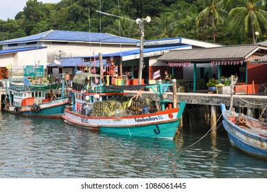 Ao Yai in Koh Kood island, Thailand - 28 January 2018:  fisherboat at Ao Yai in Koh Kood island on Thailand