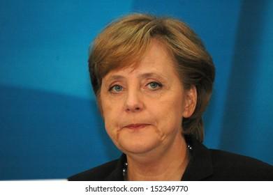 AOCTOBER 10, 2005 - BERLIN: Angela Merkel after a meeting with members of the Social Democratic Party in the Konrad Adenauer House in Berlin.