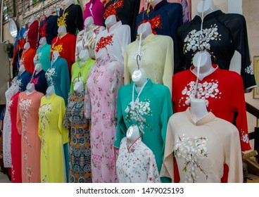 Aoi Dai Siut in Han Market Shopping in Da Nang,Veitnam. Han Market is a significant landmark in Da Nang.Visitor on 5 july 2019