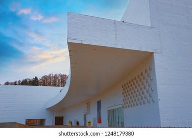 Aomori, Japan - April 22 2018: The Aomori Museum of Art houses both temporary and permanent exhibits The museum's permanent collection includes three impossibly large paintings by Marc Chagall
