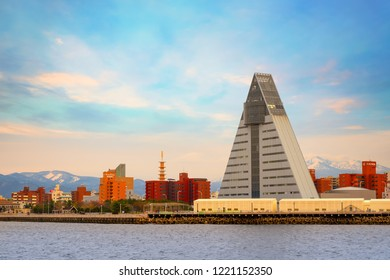 """Aomori, Japan - April 23 2018: ASPAM is a triangle-shaped building after the image of the letter """"A"""" from Aomori,  76-meter tall with 15 floors, it's the central information facility about Aomori"""