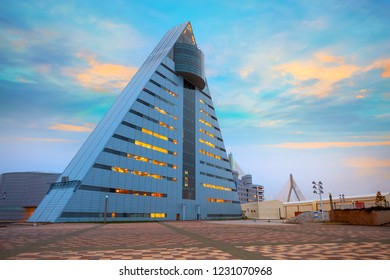 "Aomori, Japan - April 23 2018: ASPAM is a triangle-shaped building after the image of the letter ""A"" from Aomori,  76-meter tall with 15 floors, it's the central information facility about Aomori"