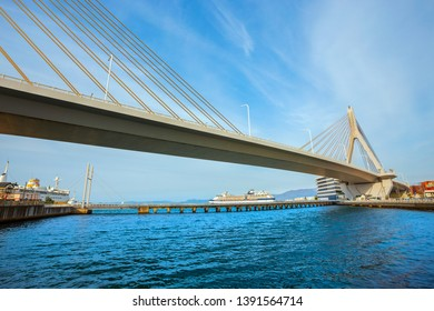 Aomori, Japan - April 23 2018: Aomori Bay bridge is a cable-stayed bridge. It was constructed in order to alleviate cargo ship traffic. It is a very notable part of Aomori's skyline