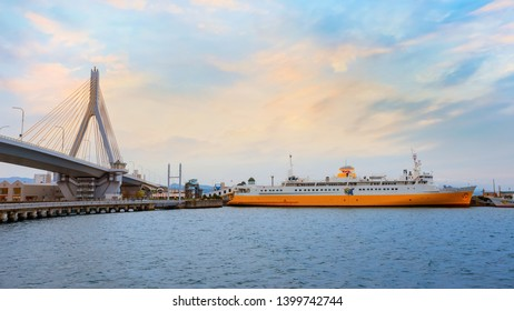 Aomori, Japan - April 23 2018: Hakkoda-Maru built in 1964, was a transport ship that carried trains from Aomori to Hakodate, now it's transformed into a memorial ship permanently docked at Aomori City