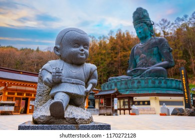 AOMORI, JAPAN - APRIL 24 2018: The big Buddha at Seiryuji temple completed in 1984, the bronze Buddha with meditation posture is totally 21.35 meters tall