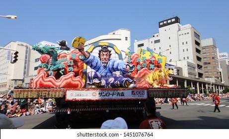 Aomori, Japan - AUG 6 2018 : Aomori cityscape during Nebuta Matsuri. Nebuta Matsuri is a Japanese summer festival that takes place in Aomori Prefecture, Japan