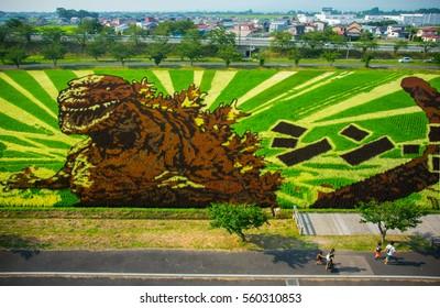 Aomori, Japan - Aug 7, 2016 - Godzilla on the rice field is the theme of 2016 Tanbo art or Rice field art at Inakadate, Aomori