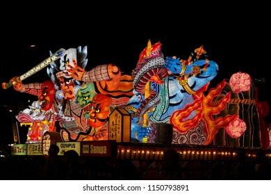 Aomori, Japan - August 3, 2018 : one of the giant illuminated Nebuta float parading through the street in the summer festival 'Nebuta Matsuri' which is the annual event in Aomori
