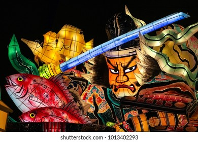 "Aomori, Japan - February 16 2017, a spectacular warrior Nebuta float used for ""Aomori Nebuta Matsuri Festival"" at Nebuta Museum Wa Rasse in Aomori prefecture Japan"