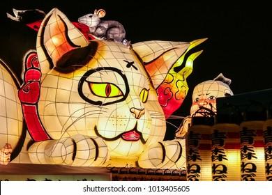 """Aomori, Japan - February 16 2017, a spectacular cat and children Nebuta float used for """"Aomori Nebuta Matsuri Festival"""" at Nebuta Museum Wa Rasse in Aomori prefecture Japan"""