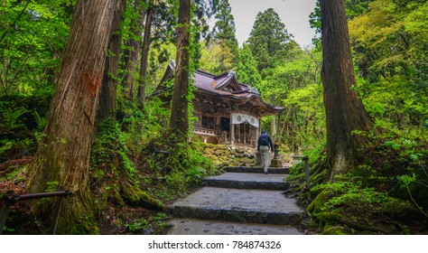 Aomori, Japan - May 16, 2017. People coming to Towada Shrine in Aomori, Japan. Towada-jinja Shrine is said to have been built in the 9th century.