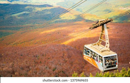 AOMORI, JAPAN OCT 2018 : Hakkoda ropeway in Aomori Prefecture with Autumn Leaves background A wonderful view of hakkoda mountains. Take the visitors to the top of Mt. Hakkoda on the day