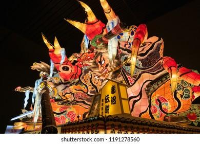 AOMORI, JAPAN - October 23 2017 : Lantern float for Nebuta Festival, Nebuta festival is held annually from August 2-7 in Aomori, Japan.